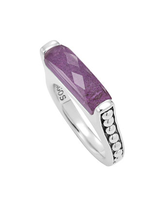 Maya Silver Charoite Stackable Ring, Size 7