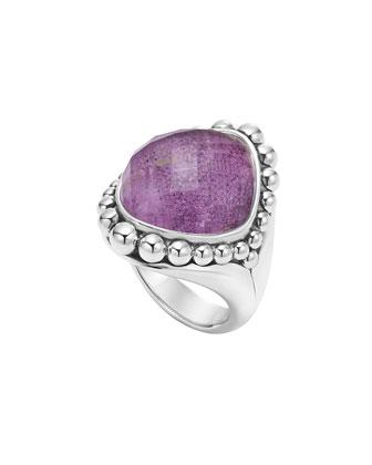 Maya Silver Charoite Dome Ring, Size 7