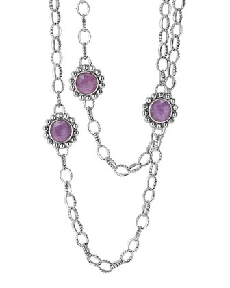 Maya Silver Charoite Station Necklace, 36