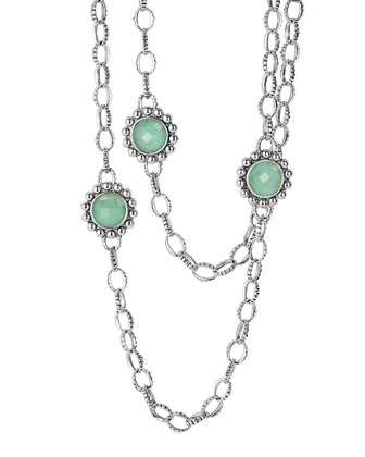 Maya Silver Variscite Station Necklace, 36