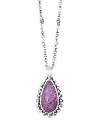 Maya Silver Charoite Teardrop Pendant Necklace