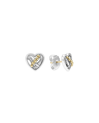 Unlaced Heart Silver & 18k Gold Stud Earrings