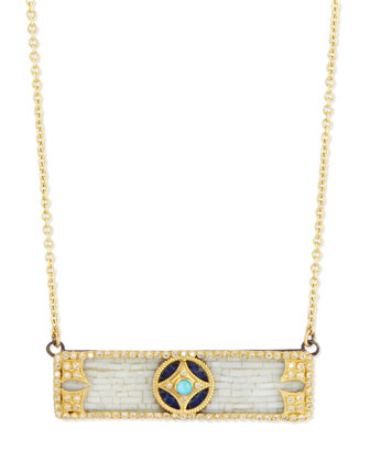 18k Mosaic Bar Pendant Necklace