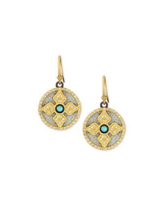 18k Mosaic Diamond Cross Earrings