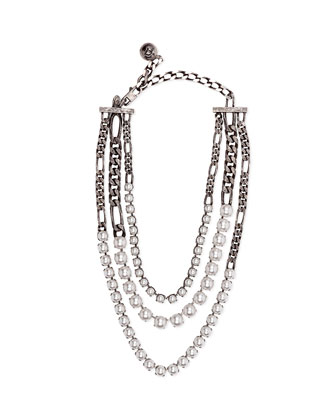 Rive Triple-Strand Pearly Necklace