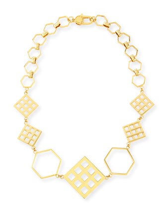Hexagon Golden Statement Necklace