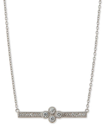 White Gold Provence Bar Pendant Necklace