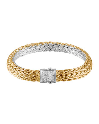Classic Chain Gold & Silver Diamond Small Reversible Bracelet