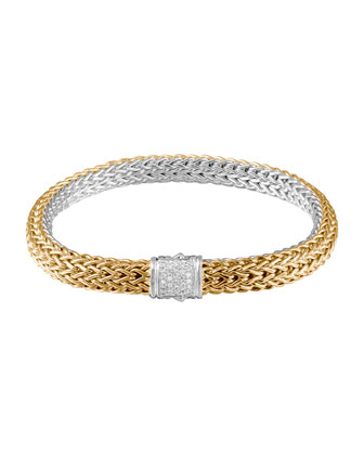 Classic Chain Gold & Silver Diamond Medium Reversible Bracelet