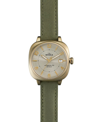 36mm Gomelsky Leather-Strap Watch, Jade