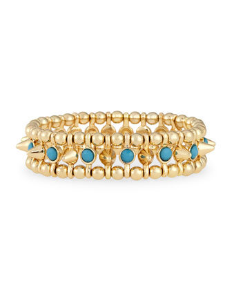 Small Golden Spike Stretch Bracelet, Turquoise