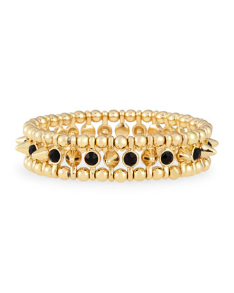 Small Golden Spike Stretch Bracelet, Black