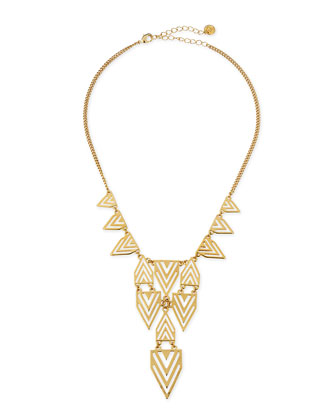 Geometric-Print Bib Necklace, Gold