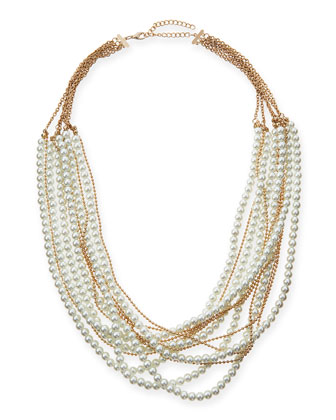 Layered Faux-Pearl & Chain Necklace