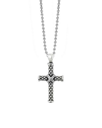 Signature Caviar Beaded Cross Pendant Necklace