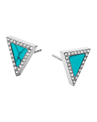 Silvertone Pave Triangle Stud Earrings