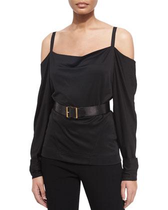 Long-Sleeve Cold-Shoulder Blouse, High-Waist Straight-Leg Pants & ...