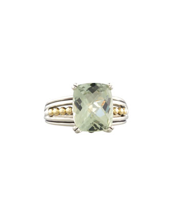 Silver Prism Ring, Green Amethyst
