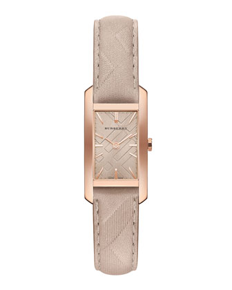 20mm Rose Golden Watch with Leather Check Strap