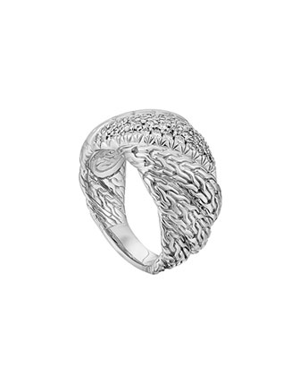 Large Twisted Chain Diamond Ring, Size 7