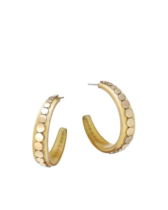 Dot Buffalo Horn Hoop Earrings