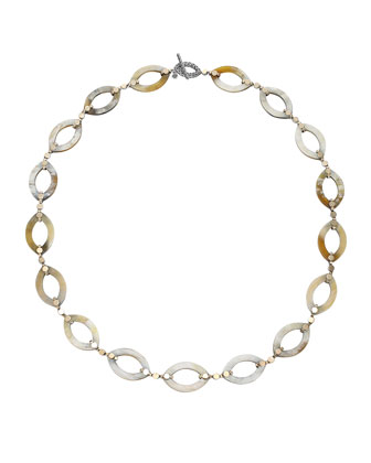 Dot Buffalo Horn Link Necklace, 36