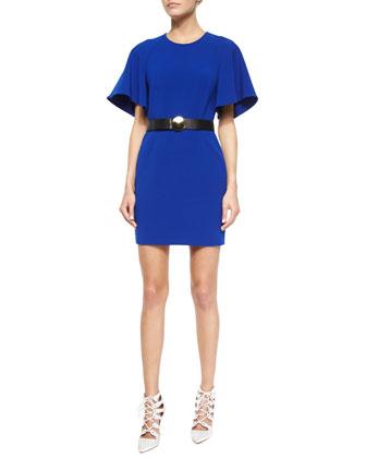 Flutter-Sleeve Crepe Mini Dress & Golden Disc-Buckle Belt