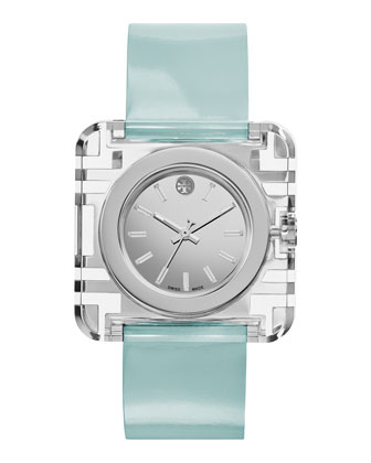Izzie Leather-Strap Stainless Steel Watch, Blue