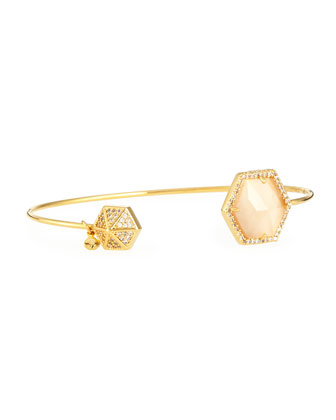 Hexagon-Tip Pinch Bracelet, Peach