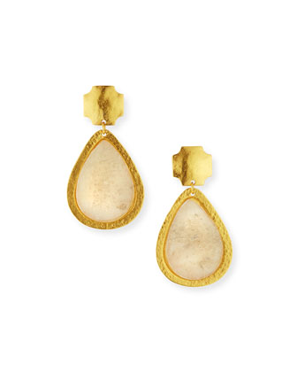 Russet White Quartz Drop Earrings