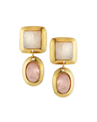 Crush Double Drop Quartz Earrings