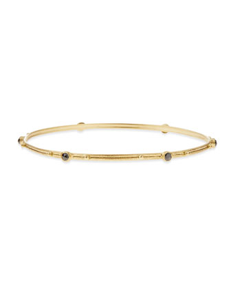 18k Gold Bangle with Black Diamonds