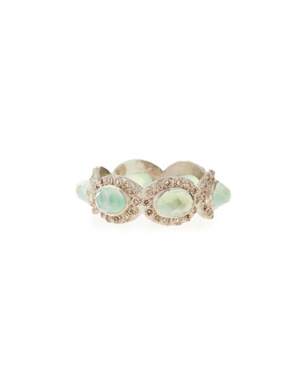 Oval Chrysoprase Diamond Stackable Ring