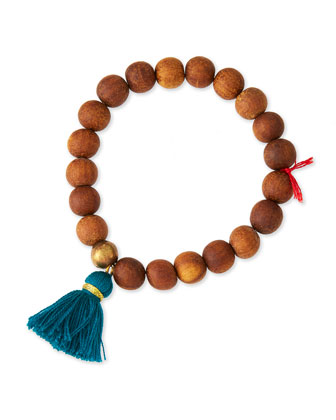 Wooden Beaded Tassel Bracelet