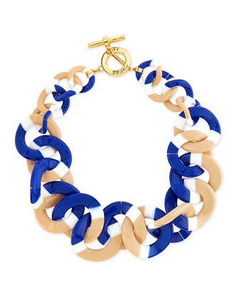 Resin Link Necklace, White/Blue/Tan
