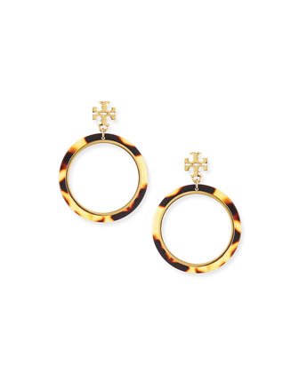 Tortoise Logo Hoop Earrings