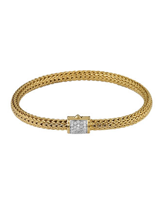 Classic Chain 18k Gold & Diamond Extra-Small Bracelet