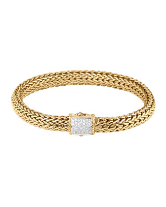 Classic Chain 18K Gold & Diamond Medium Bracelet