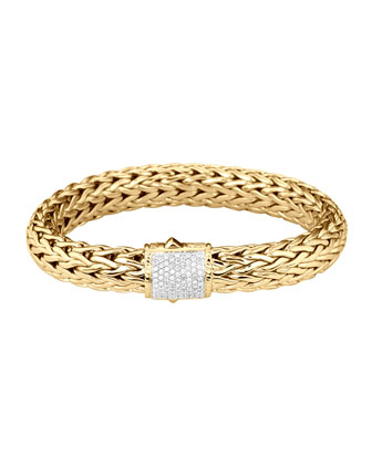 Classic Chain 18K Gold & Diamond Large Bracelet