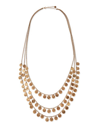 Triple-Strand Medallion Necklace, 35