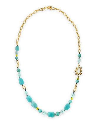 Crystal & Amazonite Chain Link Necklace, 42