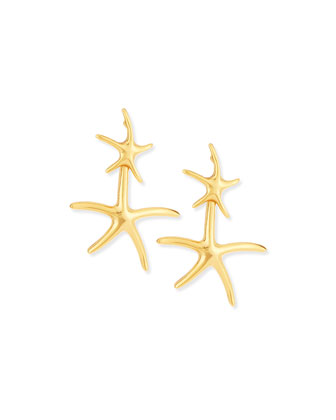 Gold-Plated Starfish Drop Earrings