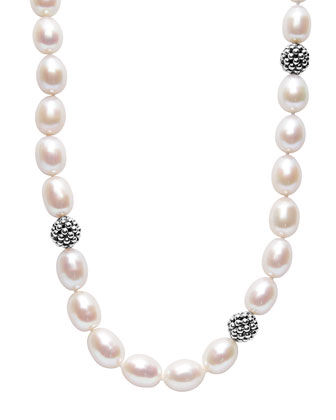 10mm Rice Pearl & Caviar Ball Necklace