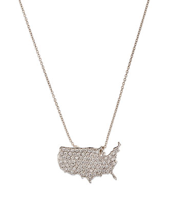 18k White Gold Diamond USA Pendant Necklace