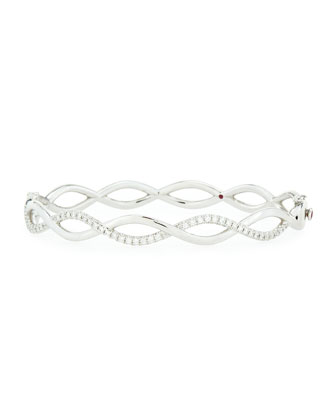 Infinity One-Row Diamond Bangle, White Gold