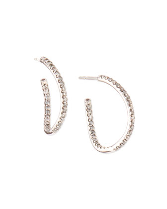 White Gold Small Diamond Wavy Hoop Earrings