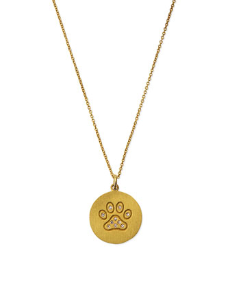 18k Diamond Paw Disc Pendant Necklace