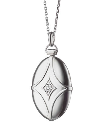 Silver & White Sapphire Petite Bridal Locket Necklace, 32
