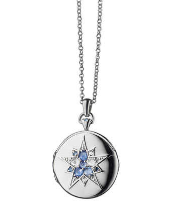Round Silver Burst Locket with Sapphires & Crystal, 30