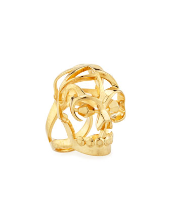Deco Skull Large Open Ring